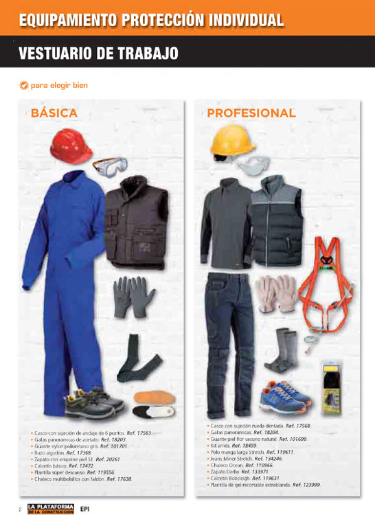 Ofertas de La Plataforma de la Construcción, Equipamiento y protección individual