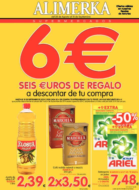 Ofertas de Alimerka, 6€ de regalo por compras +30€