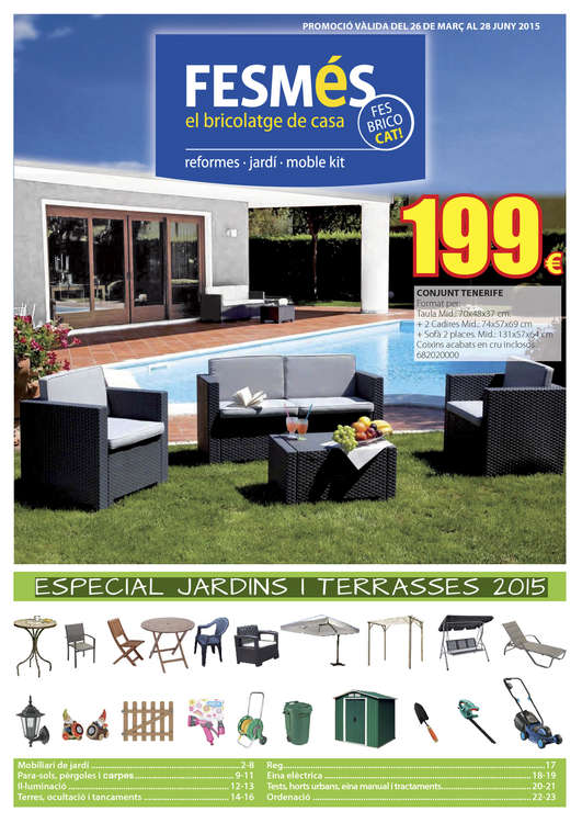 Ofertas de Fes Més, Especial Jardins i Terrasses 2015
