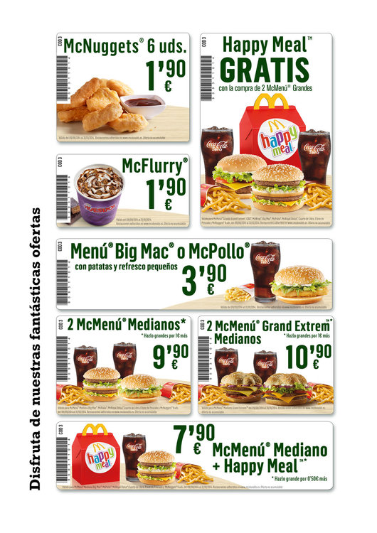 Ofertas de McDonald's, Cupones