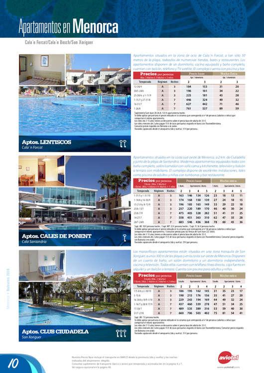 Ofertas de Viajes Tejedor, Baleares 2016-17