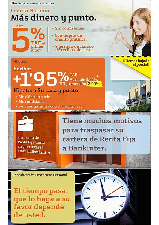 Ofertas de Bankinter, Cuenta nómina y tarjetas