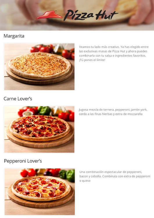 Ofertas de Pizza Hut, Pizzas
