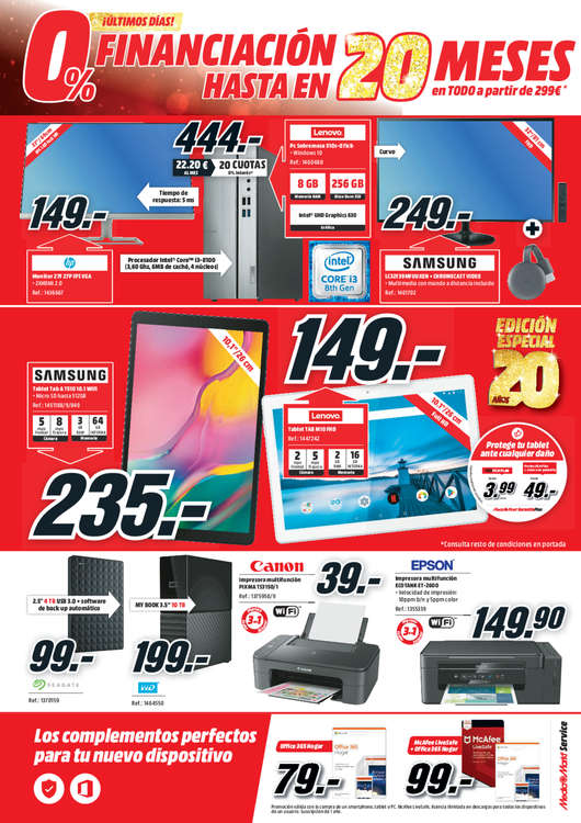 Ofertas de Media Markt, Financiación 0% hasta en 20 meses