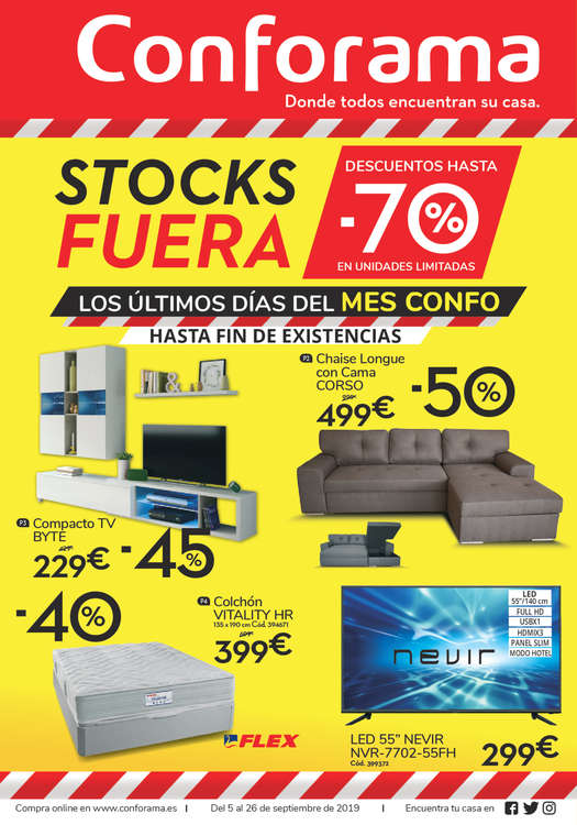 Ofertas de Conforama, Stocks fuera -70%