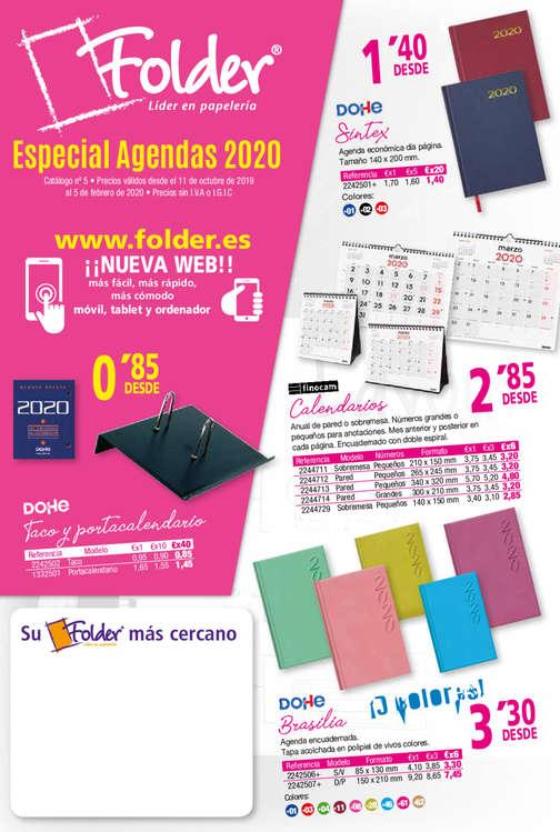 Ofertas de Folder, Especial agendas