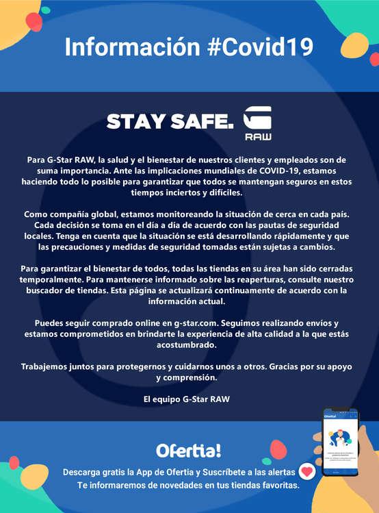 Ofertas de G-Star, STAY SAFE #Covid19