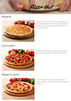 Ofertas de Pizza Hut, Pizzas