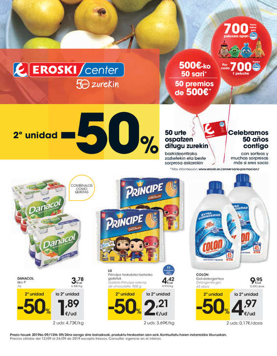 Ofertas de Eroski Center, 2ª unidad -50%