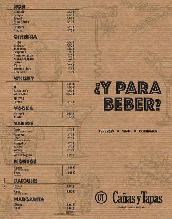 Ofertas de Cañas y Tapas, Carta Bebida