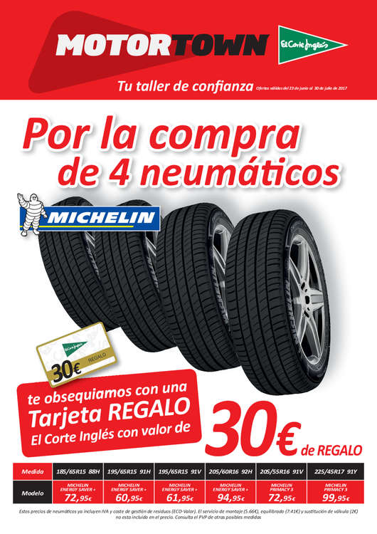 Ofertas de Motortown, Por la compra de 4 neumáticos...